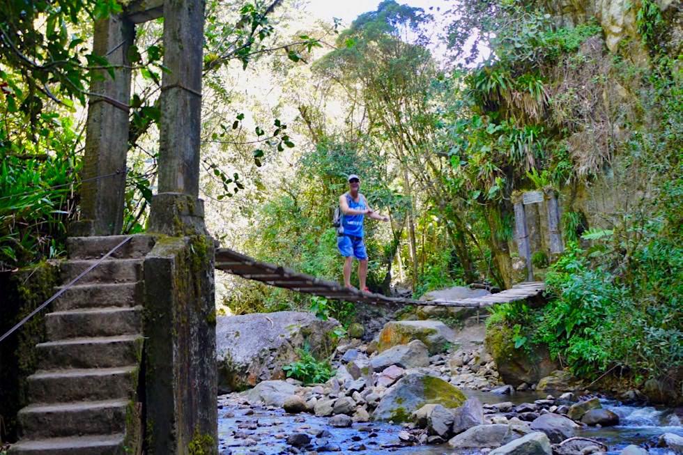 Valle del Cocora Wanderung - Verwegene Hängebrücken führen über Bäche - Salento - Kolumbien