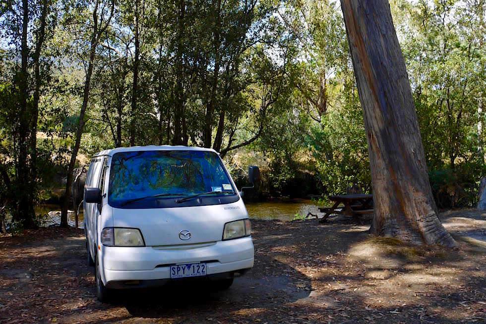 Camping bei Russell Falls im Mt Field NP - Tasmaninen