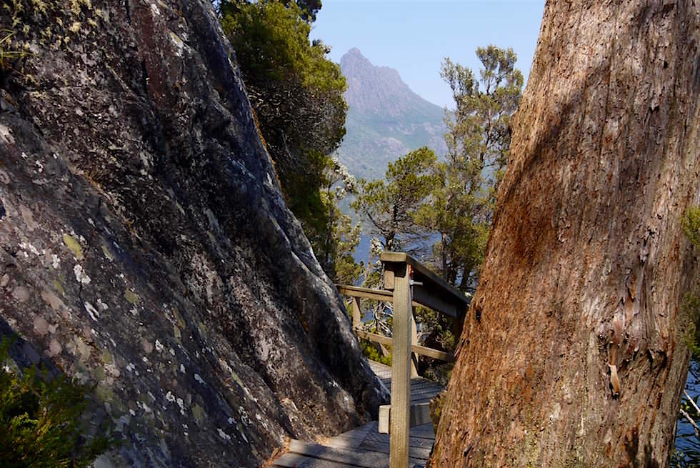 Felsen & Holzstege um den Dove Lake - Tasmanien