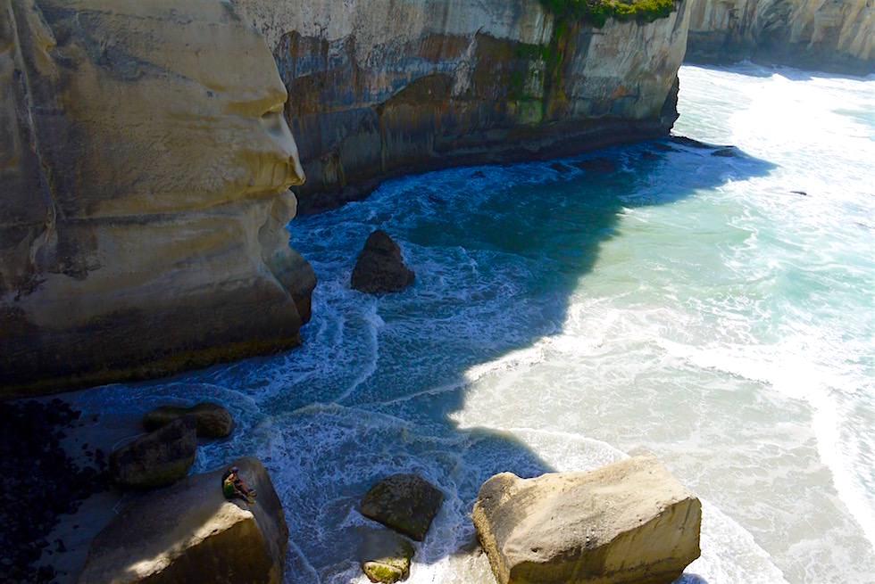 Atemberaubender Tunnel Beach von oben - Dunedin - Neuseeland