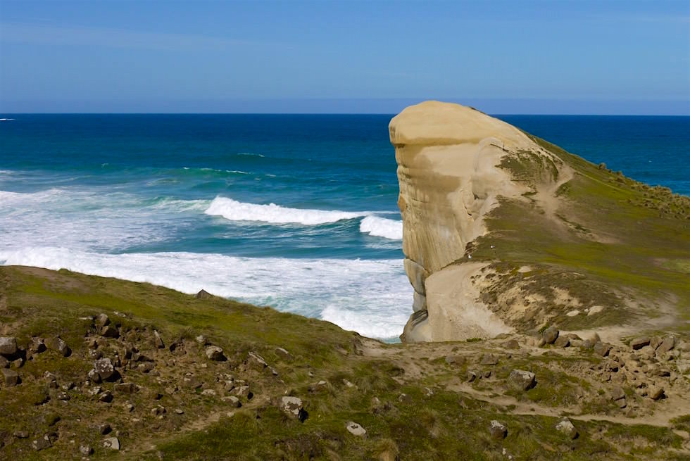 Sandsteinfelsen mit Gesicht Tunnel Beach - Dunedin - Neuseeland