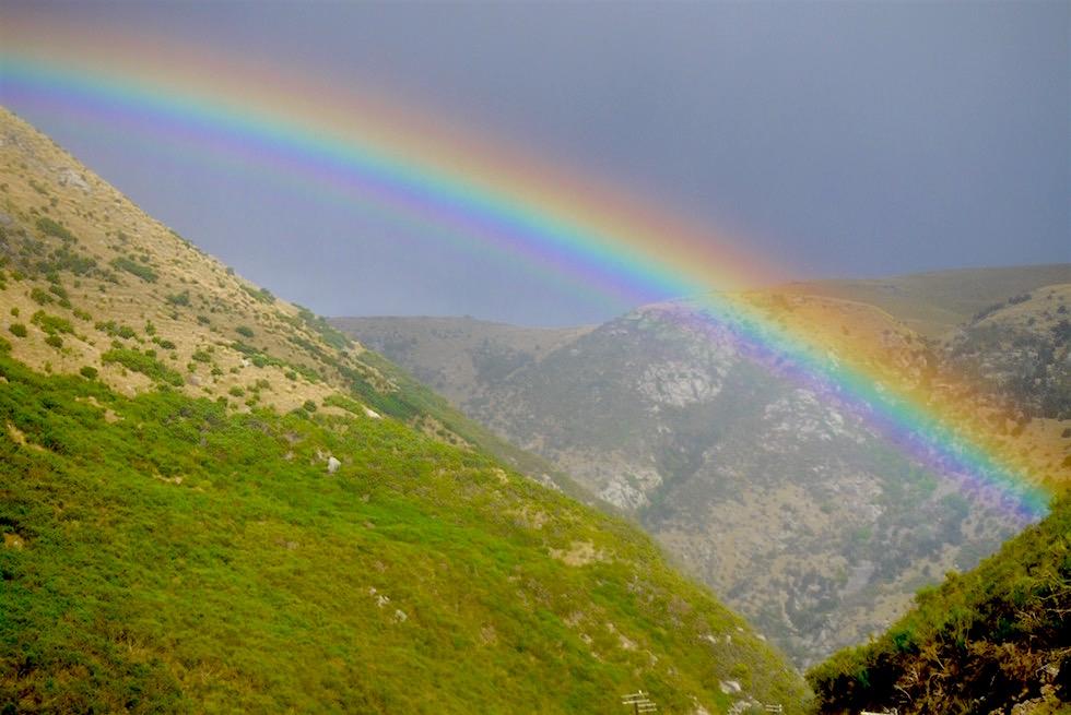 Regenbogen auf der Rückfahrt - Taieri Gorge Railway - Neuseeland Südinsel
