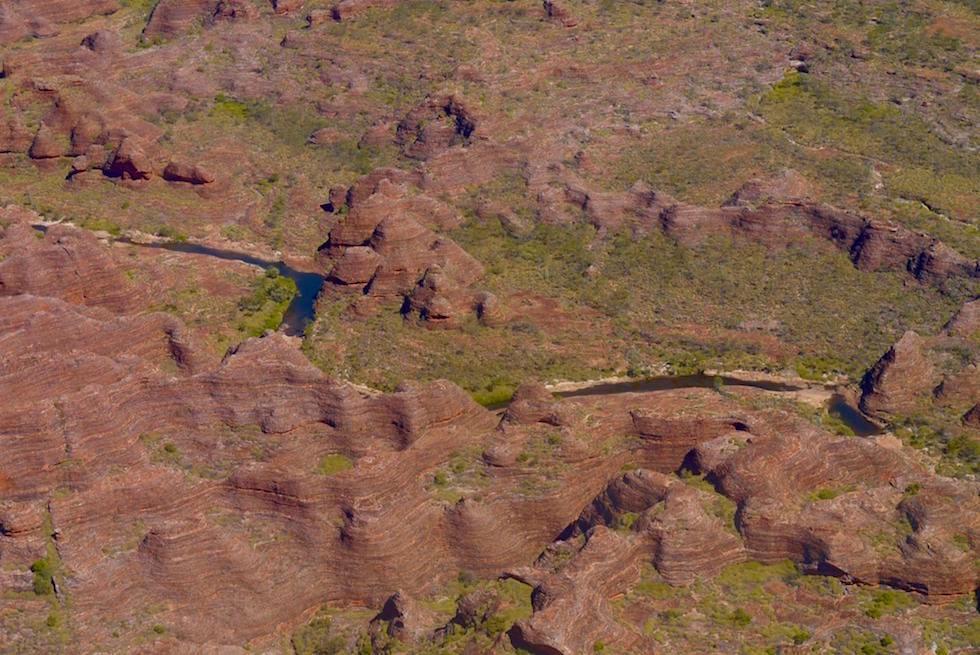 Blick auf die Bungle Bungle Range durchzogen von dem Piccaninny Creek - Kimberley Scenic Flight - Western Australia