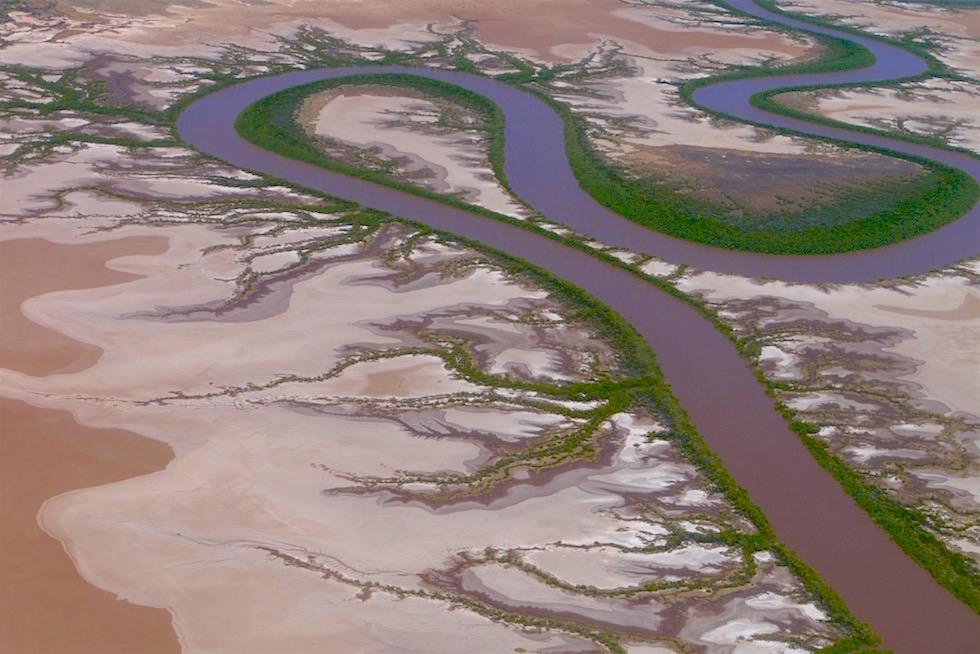 King River & Mangrovenarme von oben - Kingfisher Scenic Flight - Kimberley - Western Australia