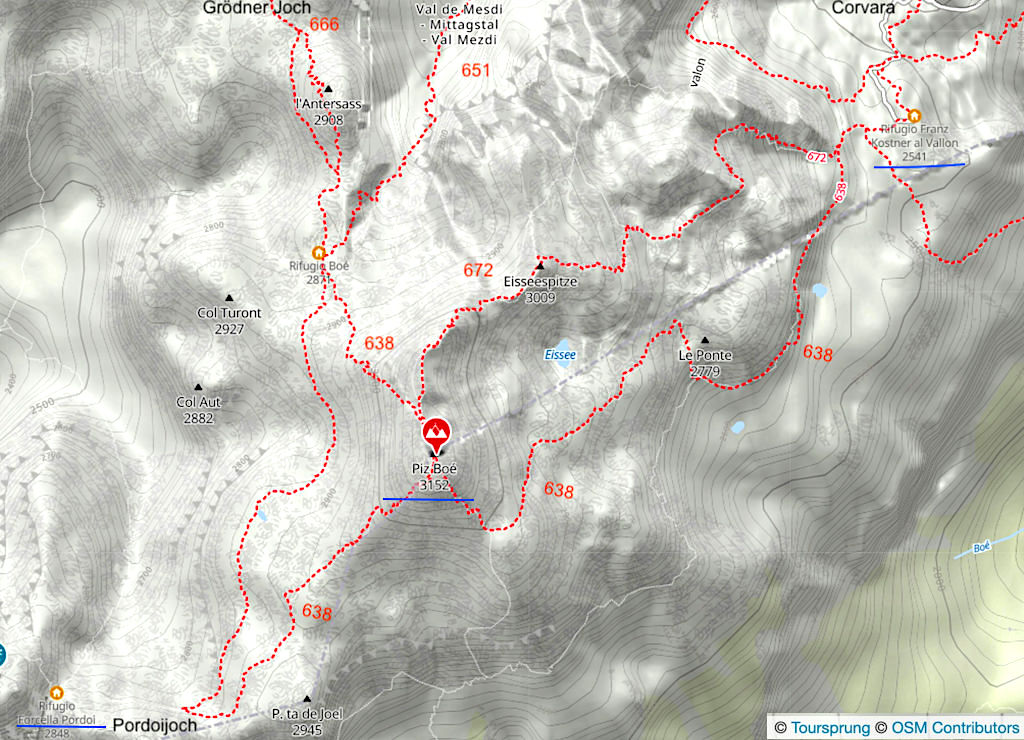 Karte Piz Boe Wanderungen: Pordoijoch, Grödner Joch, Corvara - Sella-Gruppe - Dolomiten