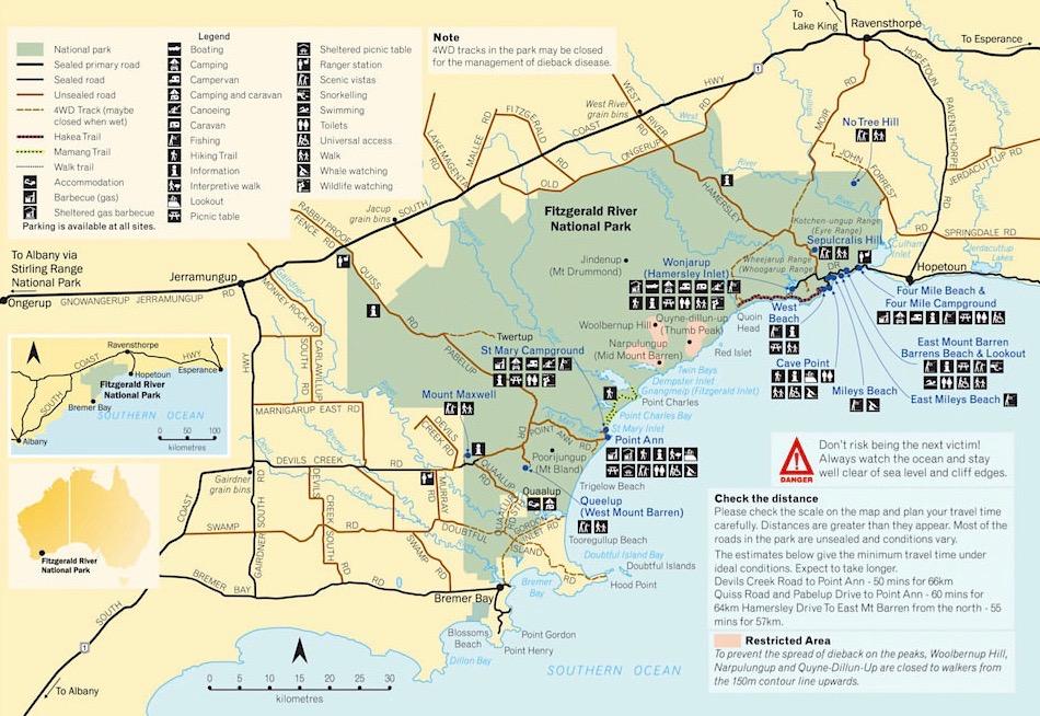 Fitzgerald River Nationalpark - Karte - Western Australia