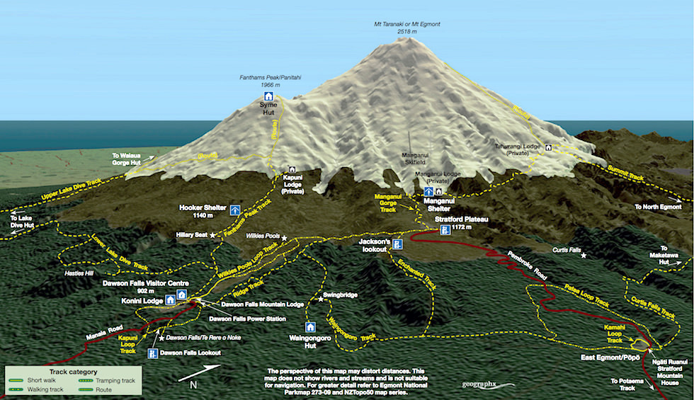 East Egmont National Park Map - Nordinsel Neuseeland