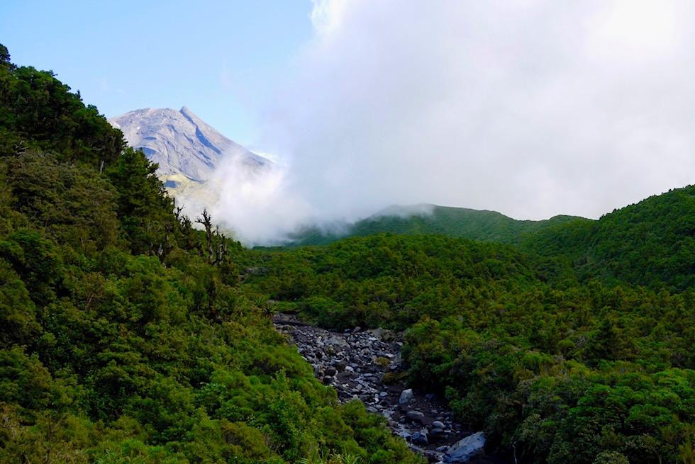 Egmont National Park: Mt Taranaki & Wilkies Pools - Ausblick vom Weg & Wolken Sonne Spiel - Nordinsel Neuseeland