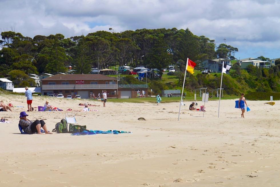 Strand & Blick auf den schön gelegenen Surf Beach Holiday Park - Narooma - New South Wales