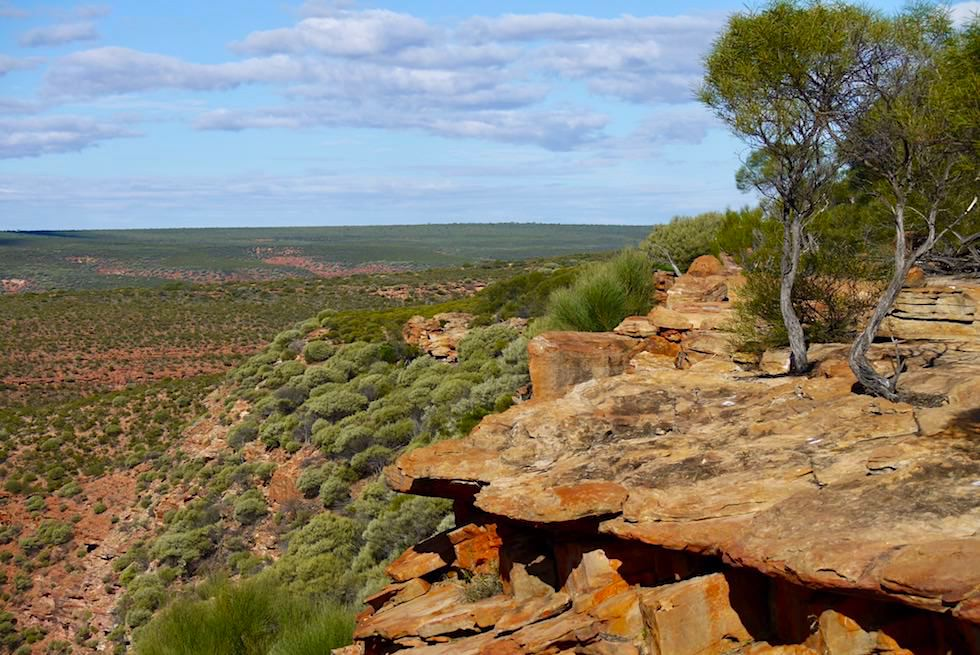 Blick über das Sandstein-Plateau - West Loop Lookout - Kalbarri National Park - Western Australia