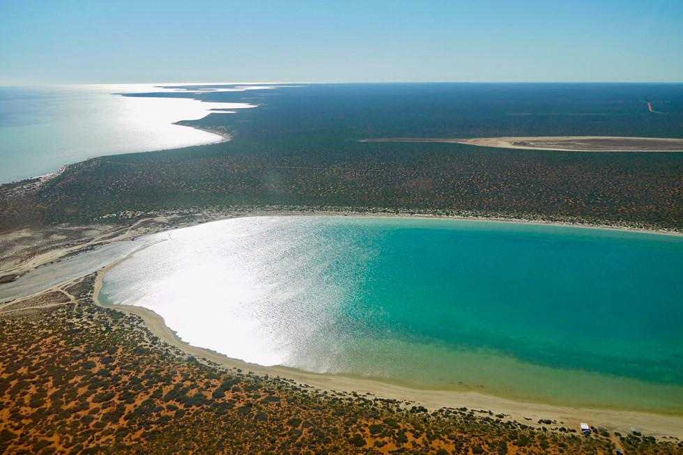 Shark Bay - Wunderschön: Little Lagoon von oben - Denham - Western Australia