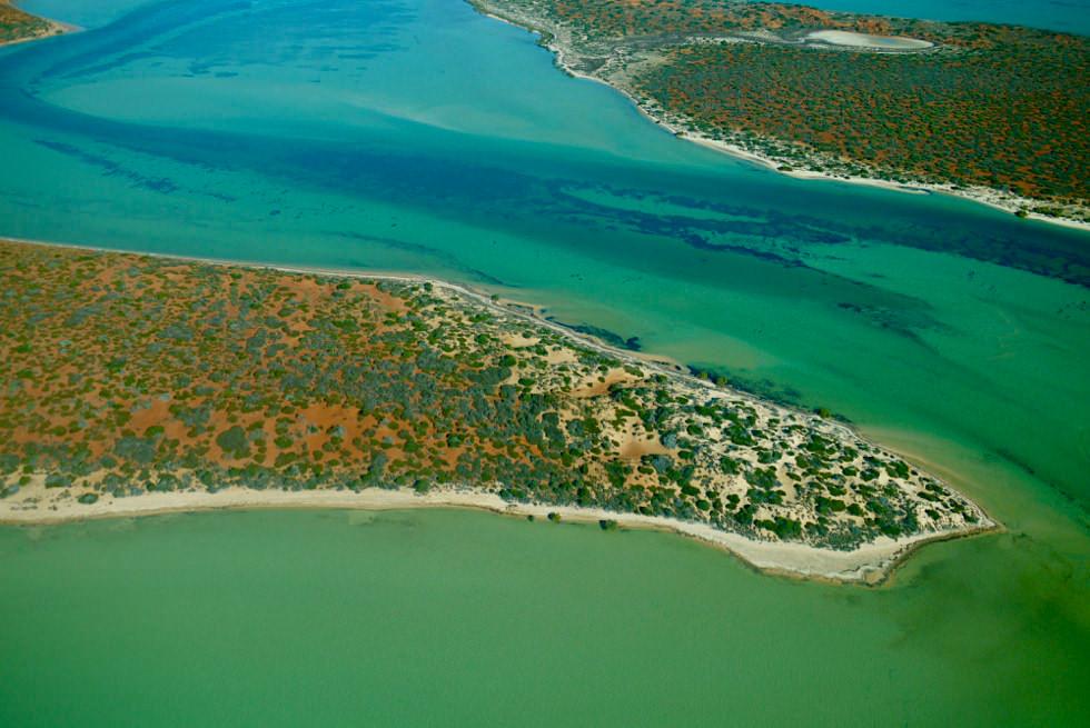 Shark Bay Scenic Flight - Blick auf Big Lagoon von oben - Francois Peron National Park - Western Australia