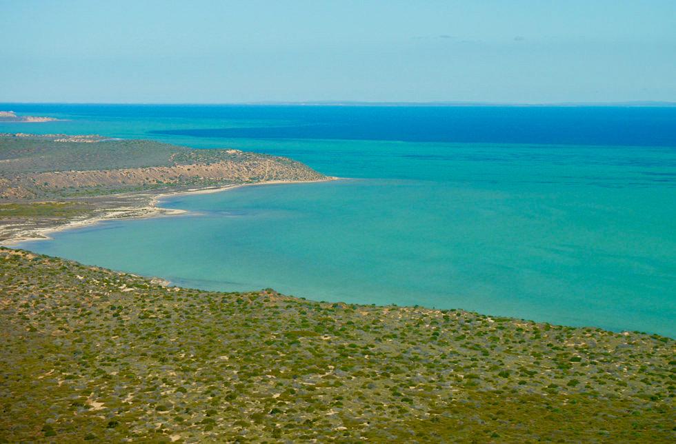 Shark Bay Scenic Flight - Peron Peninsula Küste im Süden von Denham - Western Australia