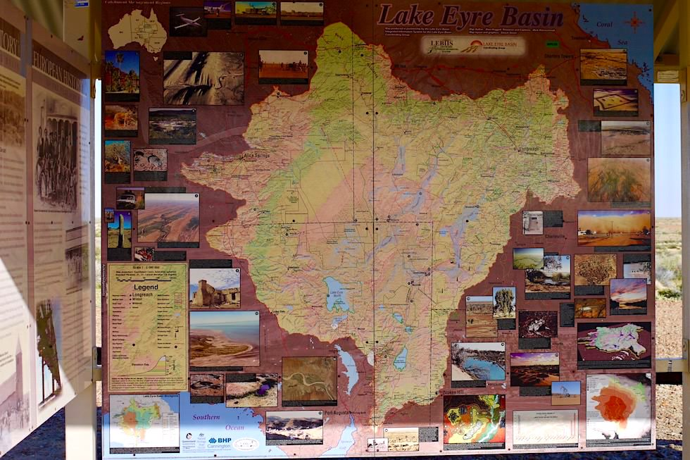 Lake Eyre Basin - Schautafeln beim Lookout Oodnadatta Track - South Australia