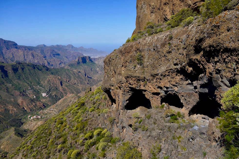 Südseite Roque Bentayga - Höhlen & grandioser Ausblick in umliegenden Täler und Berge - Gran Canaria
