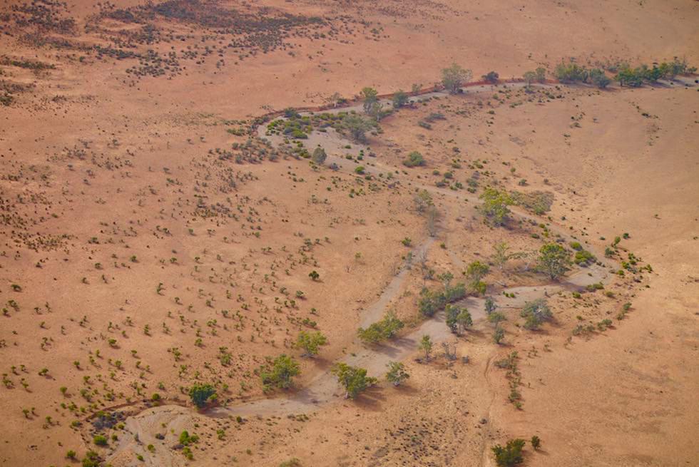 Arkaroola Wilderness Sanctuary - Vertrockneter Flusslauf aus der Vogelperspektive - South Australia