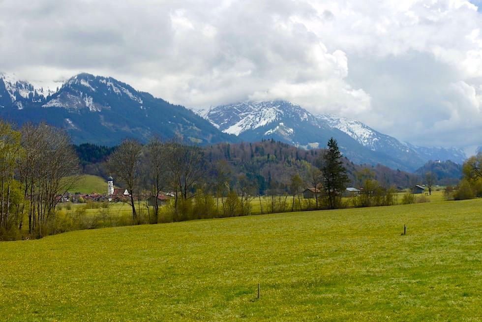 Ausblick Nebelhorn vom Iller Radweg gesehen - Fischen im Allgäu - Bayern