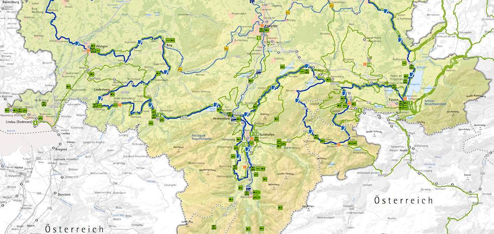 Karte - Südwestliche Radrunde Allgäu - Bayern