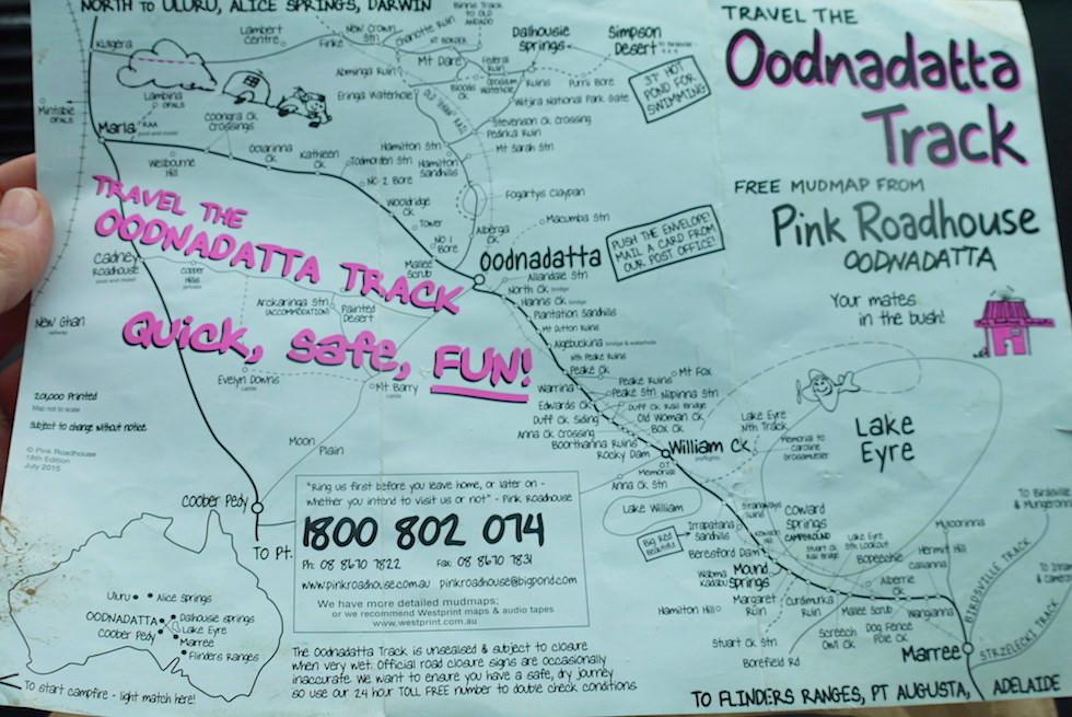 Oodnadatta Track - Mud Map & Karte mit Sehenswürdigkeiten - South Australia