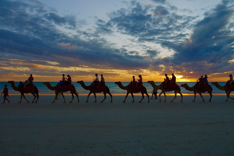 Broome - Cable Beach & Kamele beim Sonnenuntergang - Kimberley - Western Australia