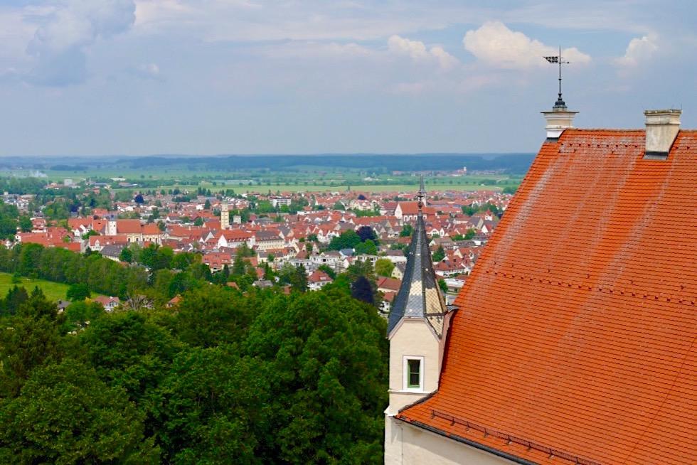 Mindelburg - Wahrzeichen von Mindelheim - Blick auf Altstadt - Allgäu - Bayern