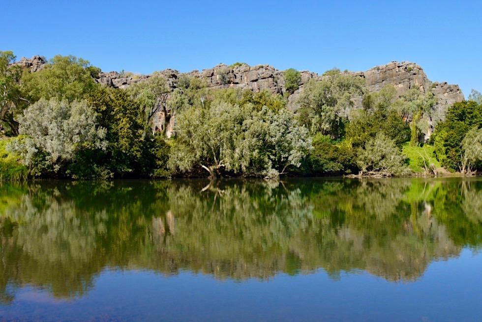 Geikie Gorge Wanderung - Büsche spiegeln sich im Wasser des Fitzroy River - Kimberley, Western Australia