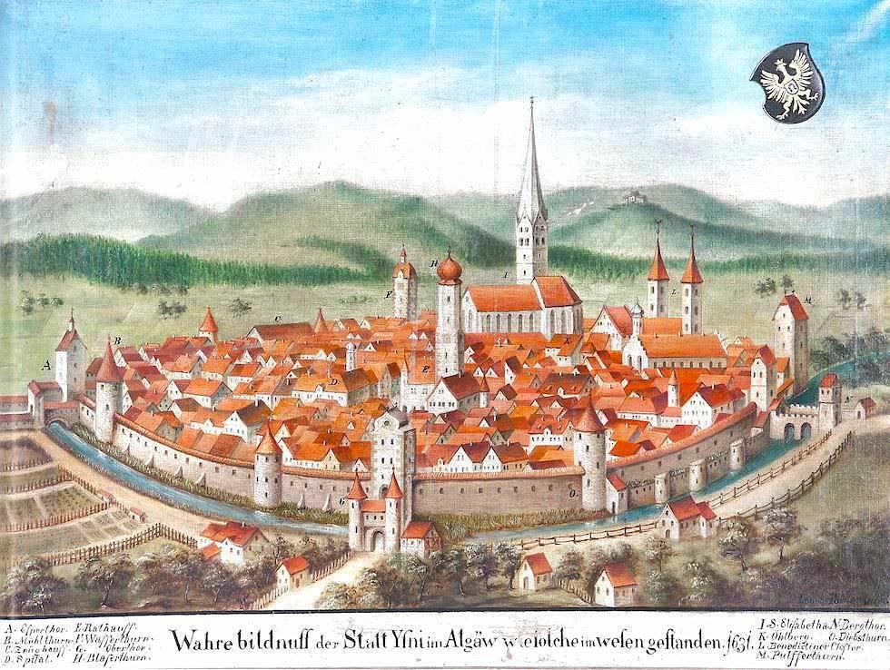 Stadtmauern und Freie Reichsstadt Isny 1631 - Altes Stadt-Portrait - Allgäu - Bayern