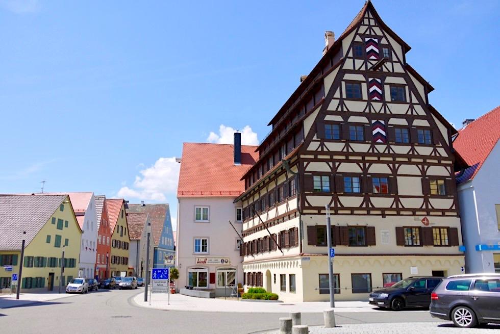 Markantestes Haus in Memmingen: Siebendächerhaus - ehemaliges Haus der Gerber Zunft - Allgäu - Bayern