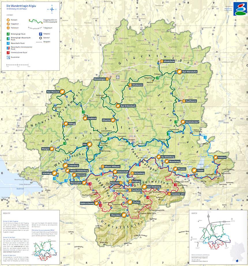 Wandertrilogie Allgäu - Karte mit Wanderrouten & Erlebniswelten - Bayern