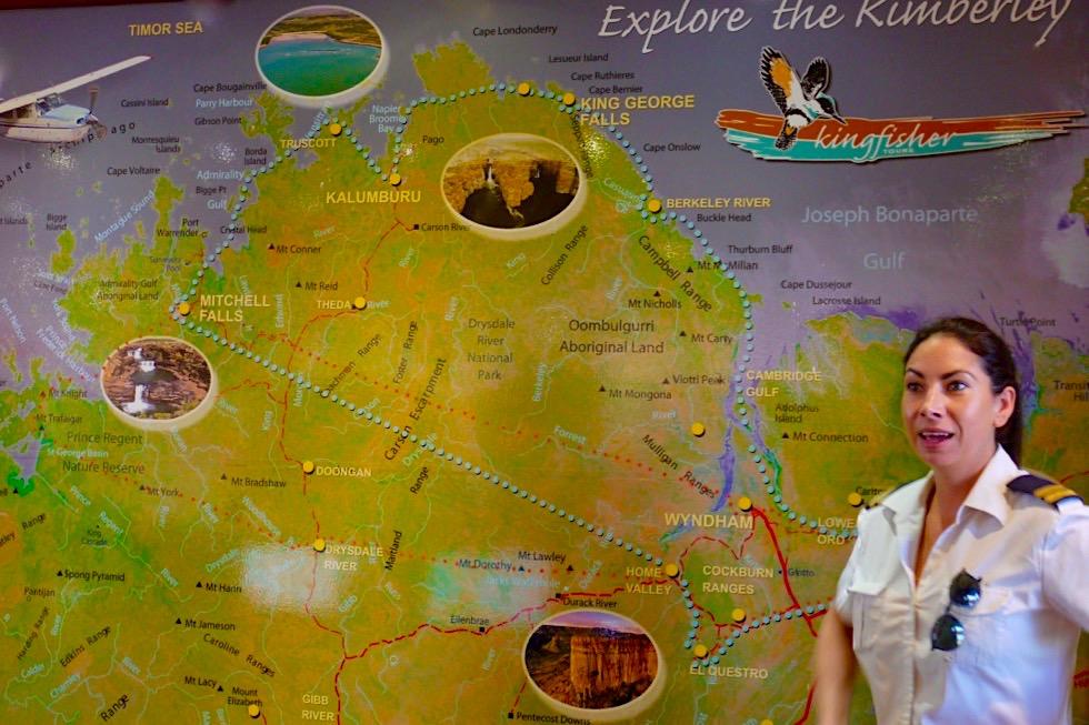 Wandjina Explorer - Kingfisher Tours & Atemberaubend schöner Scenic Flight - Routenverlauf - Kununurra, Kimberley - Western Australia