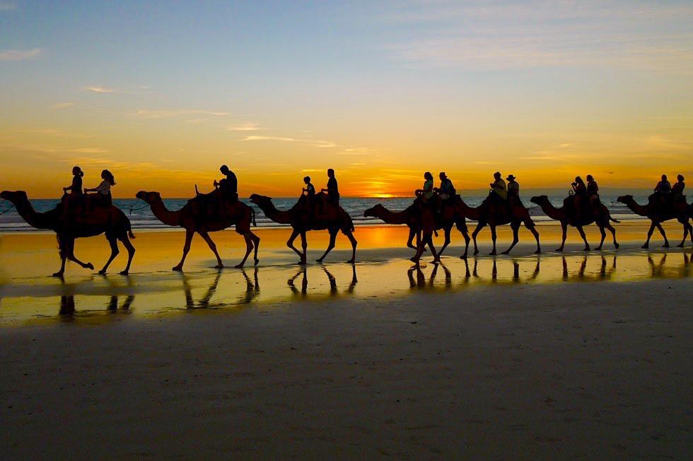 Cable Beach - Viel fotografiert: Kamelkarawane & atemberaubende Sonnenuntergänge - Broome, Kimberley - Western Australia