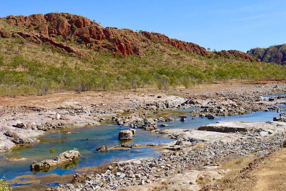 Beinahne ausgetrocknet: Lake Argyle Spillway Creek oder Überlauf - Kimberley, Western Australia