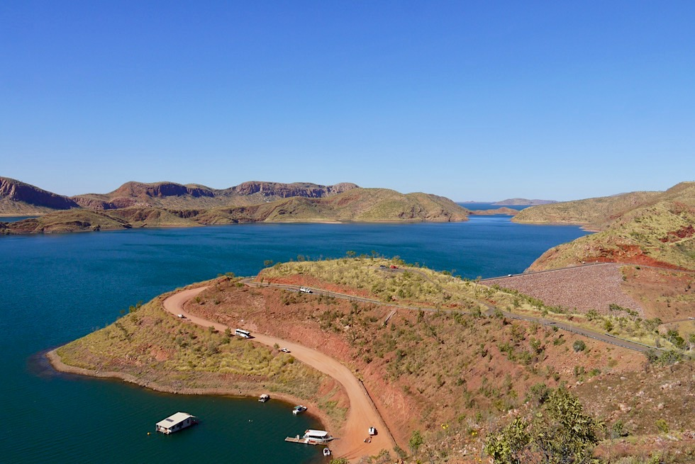 Lake Argyle Wanderungen: Watertank Lookout & Lake Argyle mit Damm - Kimberley, Western Australia