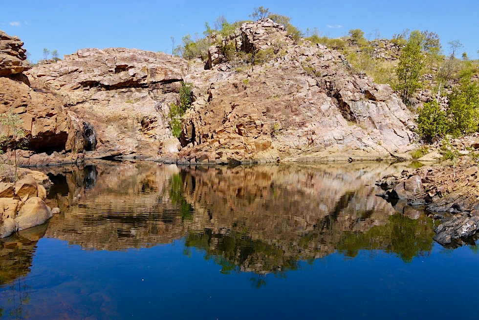 Edith Falls - Upper Pool: Felsen & Wasserspiegelungen - Nitmiluk National Park - Northern Territory