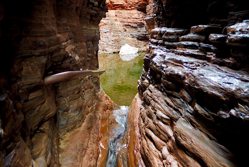 Ausblick auf den Handrail Pool - Karijini National Park: Weano Gorge - Pilbara - Western Australia