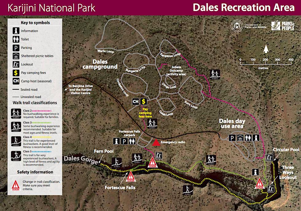 Karijini National Parke Ostteil - DPW Karte - Pilbara, Western Australia