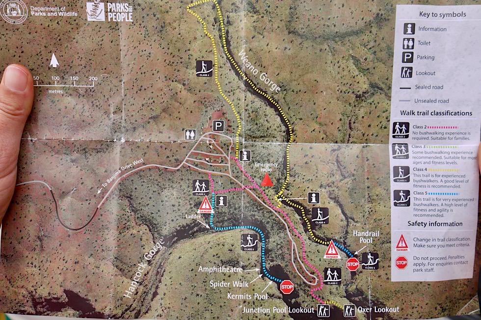 Karijini National Park - Karte Westteil - Pilbara: Hancock Gorge & Weano Gorge - Western Australia