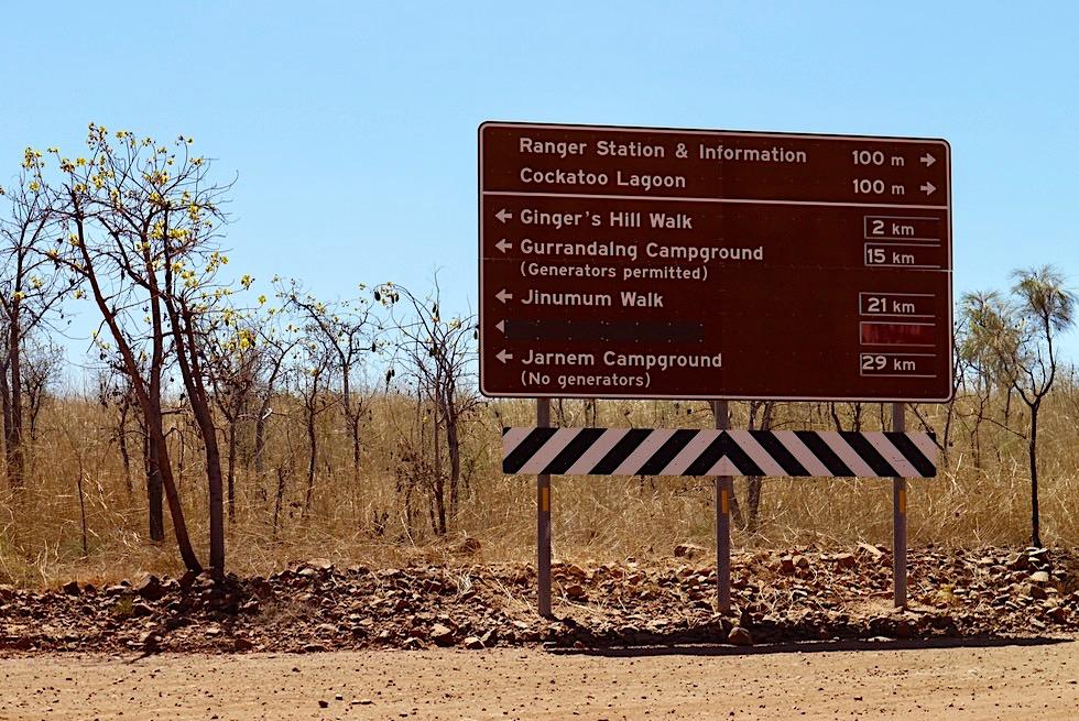 Keep River National Park - Gute Wege-Ausschilderung im Park - Northern Territory