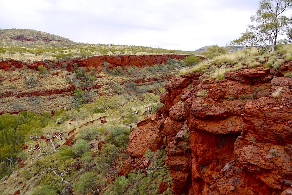 Three Ways Lookout - Grandioser Ausblick auf die Steilwände der Dales Gorge - Karijini National Park - Pilbara, Western Australia