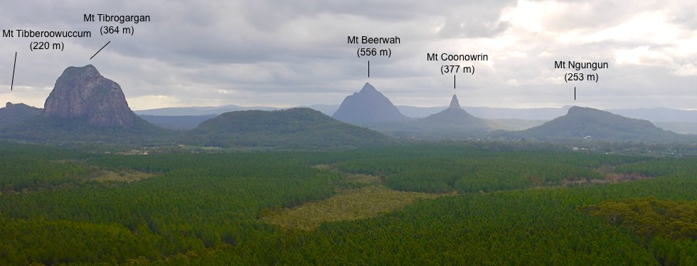 Glasshouse Mountains - Überblick & Benennung der Berge - Sunshine Coast - Queensland