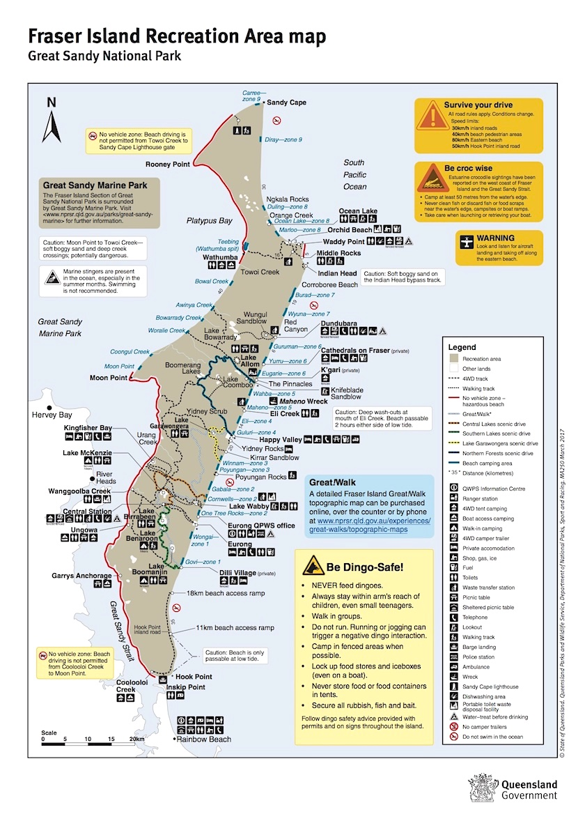 Fraser Island Map ©npsr.qld.gov - Hervey Bay - Queensland