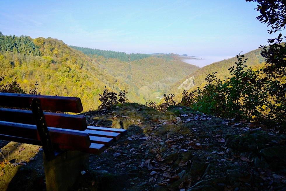 Ehrbachklamm Traumschleife - Holzbank beim Aussichtspunkt Beulslay - Rheinland-Pfalz