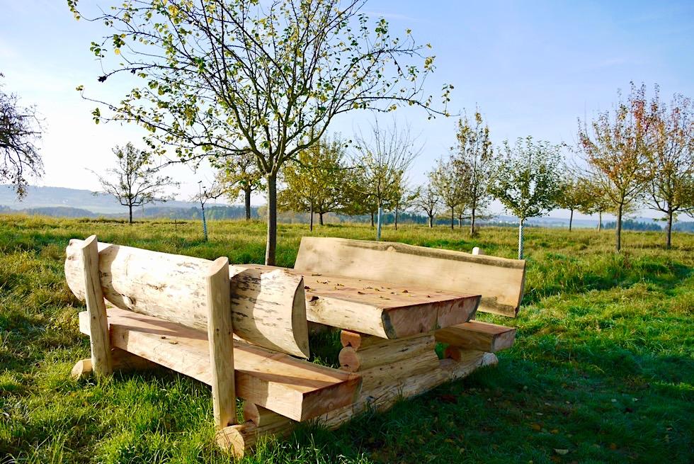 Traumschleife Ehrbachklamm - Duftende Holzbank beim Start der Wanderung auf dem Hunsrück Plateau - Rheinland-Pfalz
