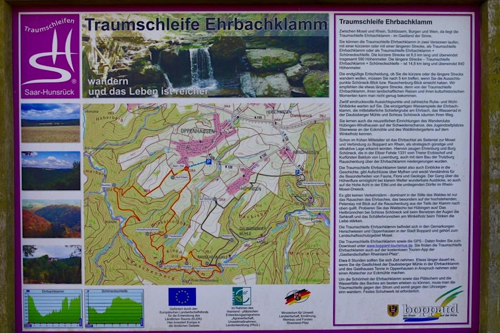 Saar-Hunsrück Traumschleife Ehrbachklamm - Übersichtskarte zur Rundwanderung - Rheinland-Pfalz