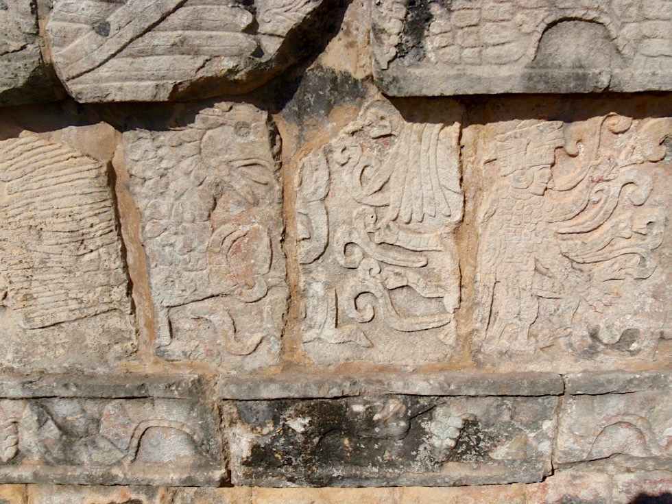 Chichen Itza - Tzompantli: Außenwand mit Kriegern & übergroßen Adlern, die Menschenherzen fressen - Yucatan - Mexiko