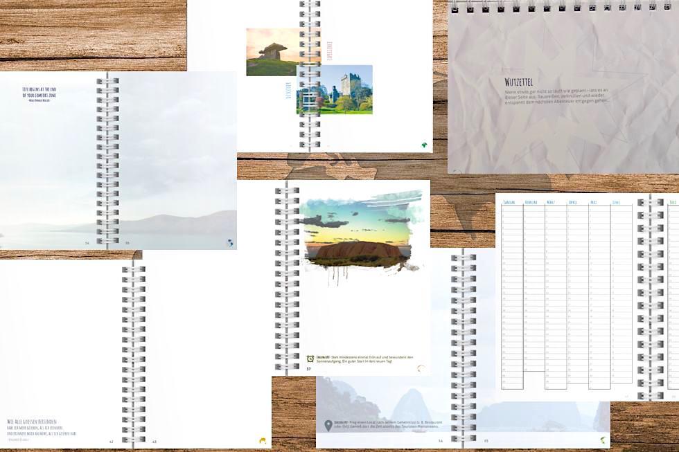 JourneyBook von Jonas Ricken: liebevoll gestaltete Innenseiten - Schönste Reisetagebücher - Passenger On Earth