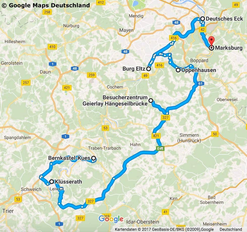 Rheinland-Pfalz Reisetipps - Route & Streckenverlauf