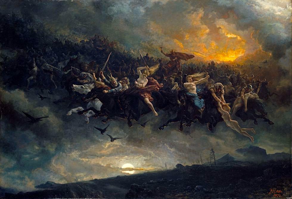 Gemälde: Odins Wilde Jagd von Peter Nicolai Arbo (1872) - Bräuche, Mythen & Raunächte