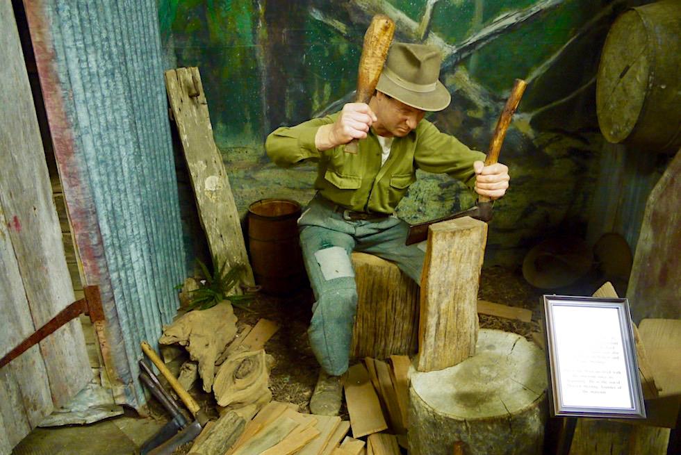 Kauri Museum - Das Leben zur Pionierzeit: Kauri-Holzverarbeitung zu Dachschindeln - Nordinsel Neuseeland
