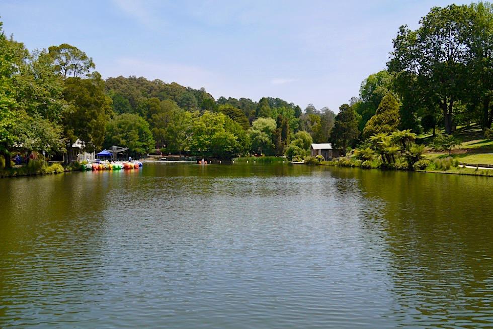 Lakeside: Stopp der Puffing Billy Museumsbahn - Blick auf Emerald Lake - Naherholungsgebiet Melbourne - Victoria